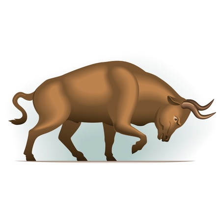Bull vector illustration in color, financial theme ; isolated on background.  Vector