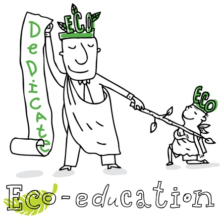 graduacion caricatura: La educaci�n ecol�gica, la protecci�n de la ecolog�a y el medio ambiente, dibujo vectorial, aislado en el fondo. Vectores