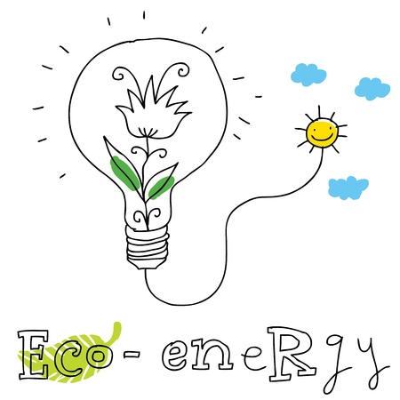 overuse: Eco energy; ecology and environment protection, vector drawing ; isolated on background.  Illustration