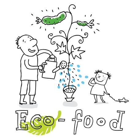 Eco de alimentos, la protección de la ecología y el medio ambiente, dibujo vectorial, aislado en el fondo.