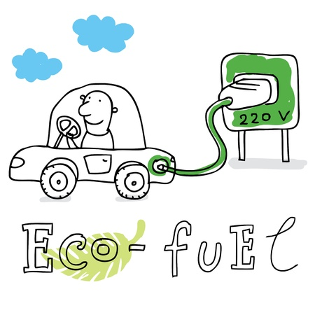 cartoon world: Eco fuel; ecology and environment protection, vector drawing ; isolated on background.