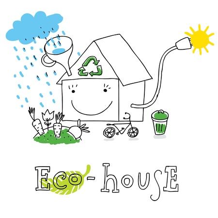 Casa ecológica, la protección de la ecología y el medio ambiente, dibujo vectorial, aislado en el fondo. Ilustración de vector