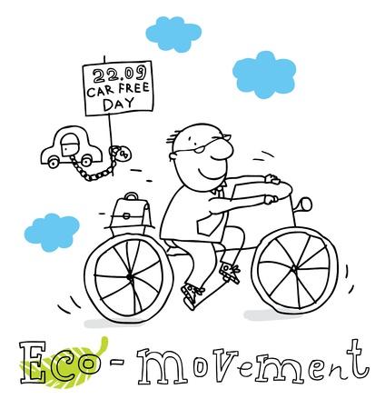 bike vector: Eco movimiento, la protecci�n de la ecolog�a y el medio ambiente, dibujo vectorial, aislado en el fondo.