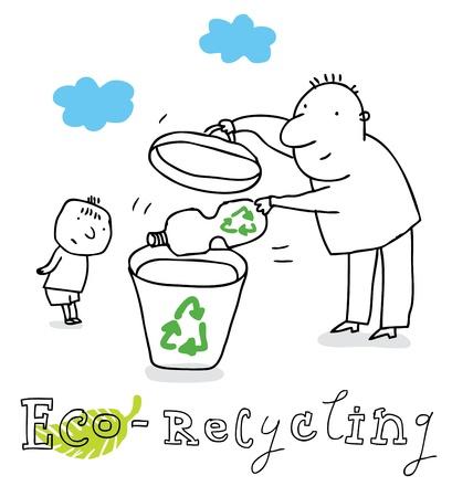 Eco de reciclaje, protección de la ecología y el medio ambiente, dibujo vectorial, aislado en el fondo.