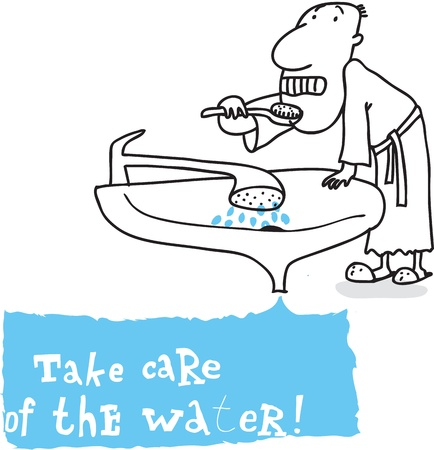 save water: Eco resource teeth; ecology and environment protection, vector drawing ; isolated on background.