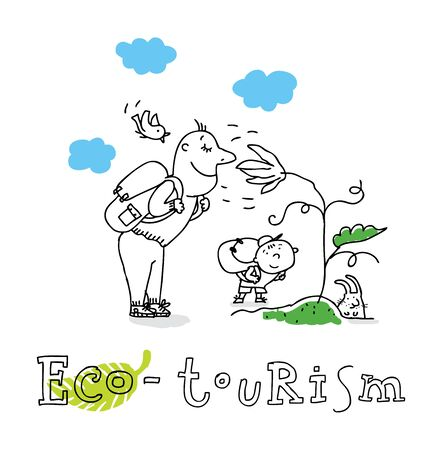 Eco tourism; ecology and environment protection, vector drawing ; isolated on background.