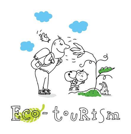 turismo ecologico: Eco turismo, la protecci�n de la ecolog�a y el medio ambiente, dibujo vectorial, aislado en el fondo. Vectores