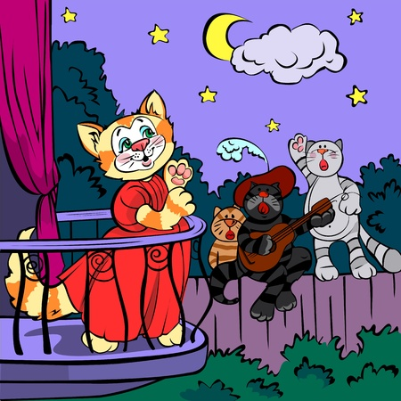Three singing cats, vector drawing; on background  Vector
