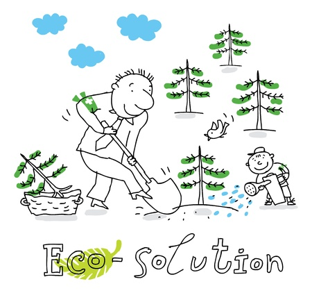 Eco solution; ecology and environment protection, vector drawing ; isolated on background.  Illustration