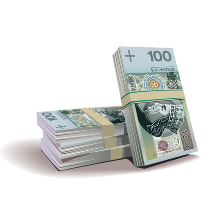 zloty banknotes illustration, financial theme