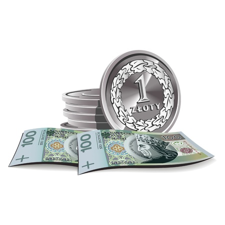 zloty banknotes and coins illustration, financial theme