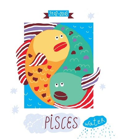 pisces sign: pisces drawing Illustration
