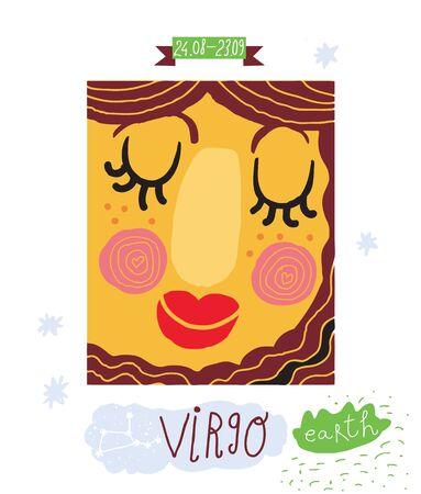 Virgo  zodiac drawing  Illustration