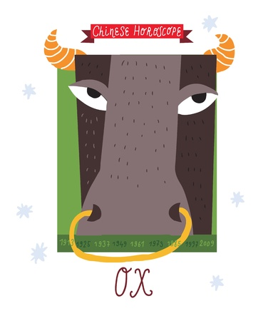 ox  horoscope drawing   Vector