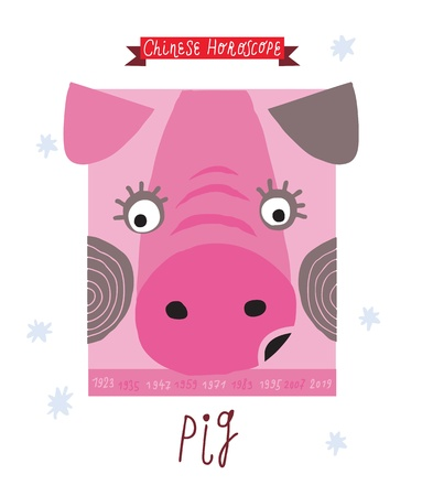 pig  horoscope drawing   Vector