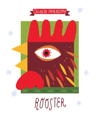astrologist: Rooster  horoscope vector