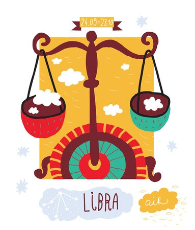 astrologist: Libra. zodiac vector drawing