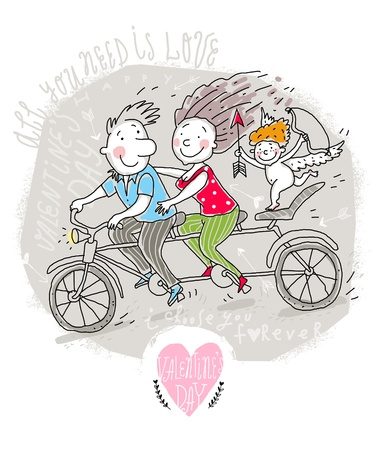 Vector Valentine Card with Couple on Tandem Illustration