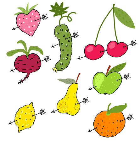 Vector Vegetables and Fruits in love Vector