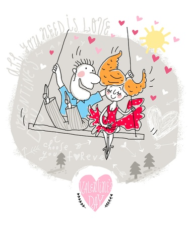 Vector Valentine Card of Cartoon Couple on swing