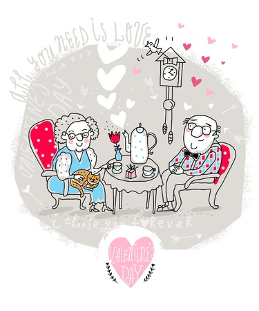 grandfather clock: Vector Valentine Card with Cartoon Old Couple