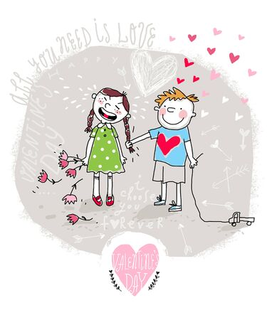 nasty: Vector Valentine Card with Cartoon Young Couple, Nasty Boy