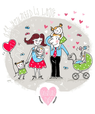 Vector Valentine Card with happy family Vector