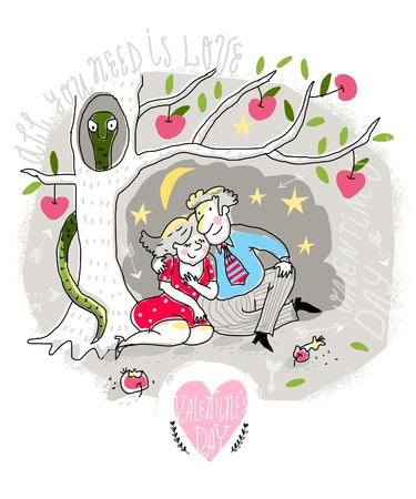 first love: Vector Valentine Card with couple in love under the tree