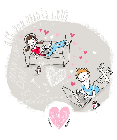 chat room: Vector Valentine Card with chatting Modern couple  Illustration