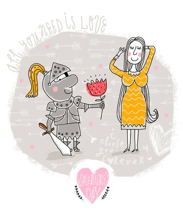 Vector Valentine Card with knight and lady Illustration