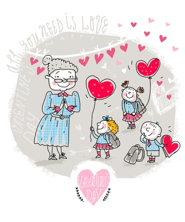 happy old people: Vector Valentine Card with Teacher and kids