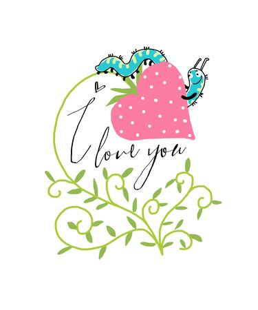 cartoon strawberry: Vector Valentine Card with strawberries and caterpillar Illustration