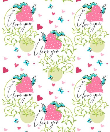 vector background strawberries and caterpillar in love