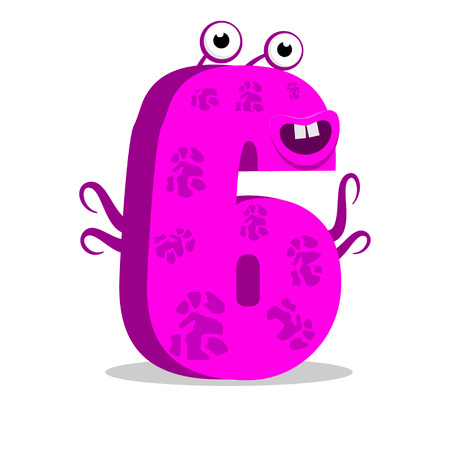 child of school age: The English alphabet. Figure 6, the sixth. Octopus vector illustration.