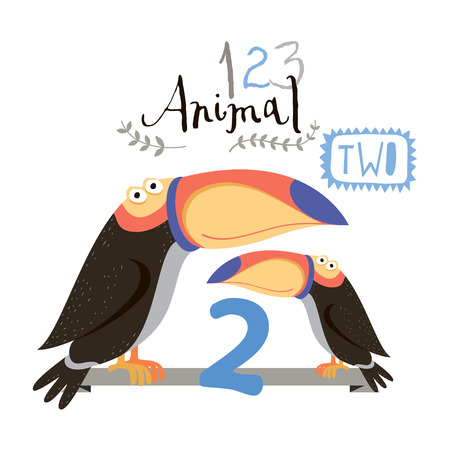 two animals: Children alphabet of animals and figures. Two figure. Vector illustration. Part of a large set of vector numbers and animals
