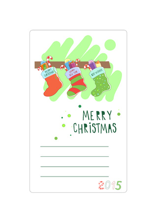 three wishes: Three Christmas socks. Card for wishes. Vector illustration Illustration