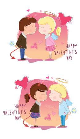 Valentines Day. Girl and boy kisses. Vector illustration Illustration
