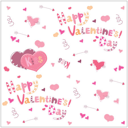 Valentines Day. Arrows heart and lettering. background illustration Illustration