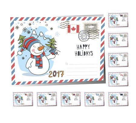 New Year Postcard Christmas snowman 2017 | Vector