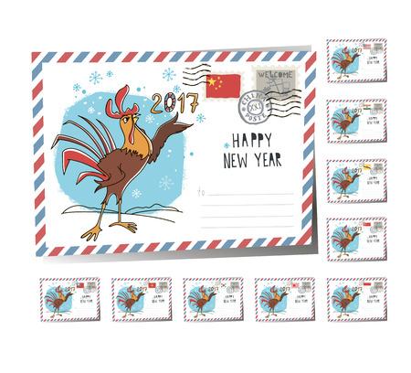 New Year Postcard Christmas cock 2017 | Vector Illustration