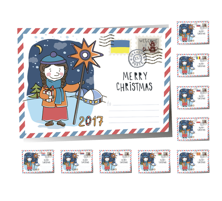 New Year Postcard Christmas carols 2017 | Vector