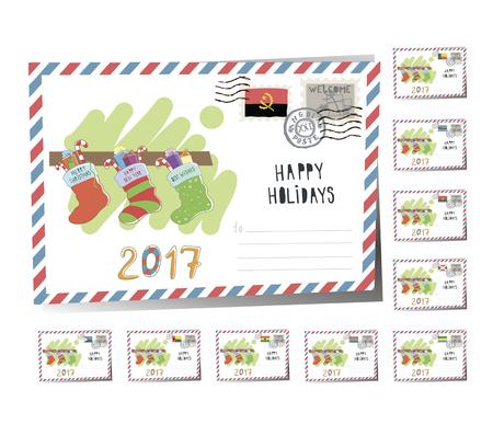 New Year Postcard Christmas socks 2017 | Vector Illustration