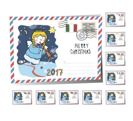 New Year Postcard Christmas Angel 2017 | Vector