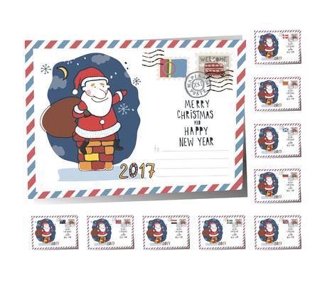 New Year Postcard Christmas Santa 2017 | Vector