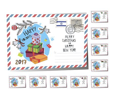 New Year Postcard Christmas Presents 2017 | Vector