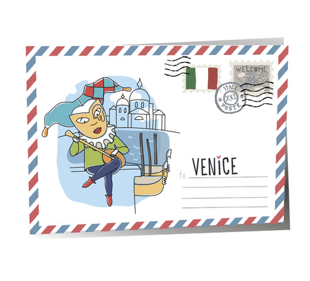 Postcard (city) Postcard Venice | Vector Illustration