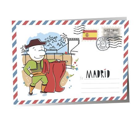 Postcard Madrid | Vector Illustration