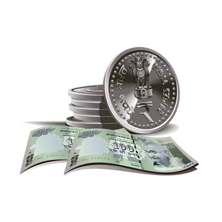 Indian rupees bundle and coins   Vector