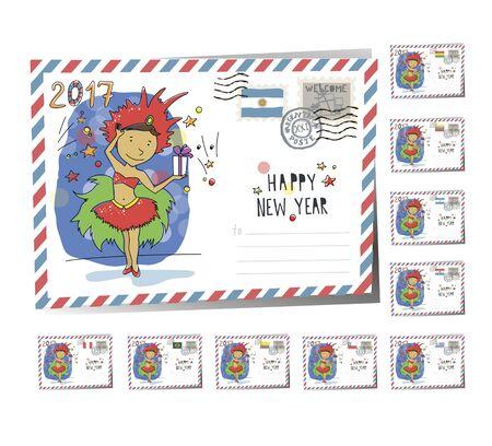 New Year Postcard Christmas carnaval 2017 | Vector