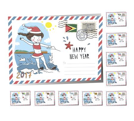 New Year Postcard Christmas sunta girl 2017 | Vector